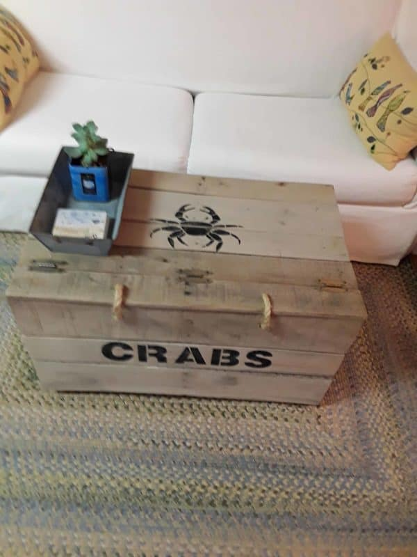 Pallet Chest/Coffee Table with Printed Crab Pallet Boxes & Chests Pallet Coffee Tables
