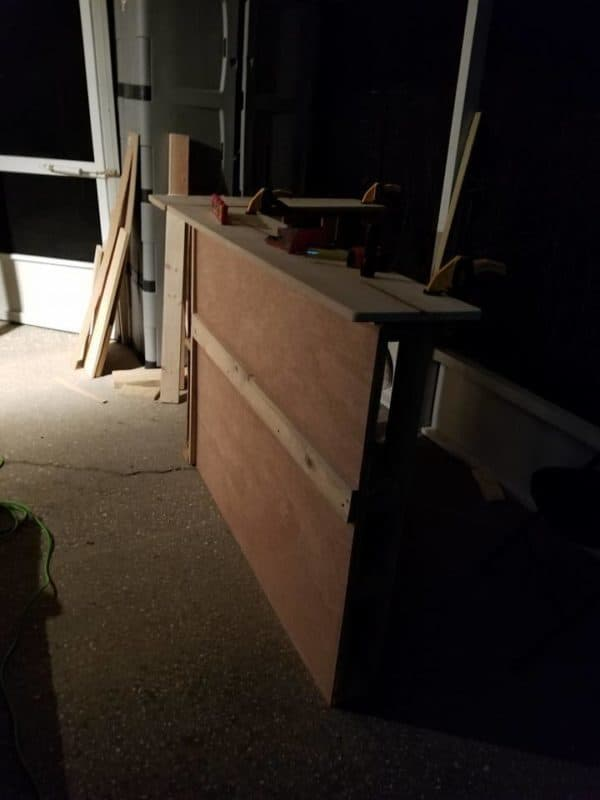The front of the 3 Pallet Bar was covered with a piece of plywood.