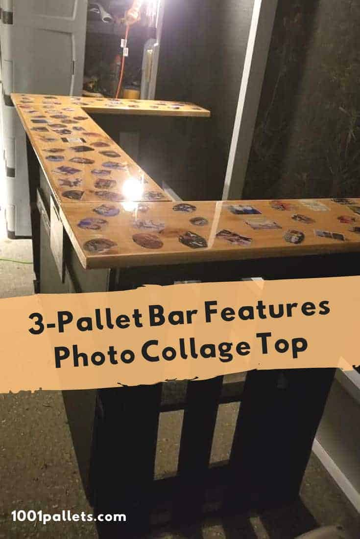 3-Pallet Bar Features Photo Top - A gift for my daughter! I attached several photos to the top of the bar with Mod Podge, & coated it with 3 layers of epoxy. I added a stemware rack and a storage shelf for extra convenience! #diypalletbars #palletparty