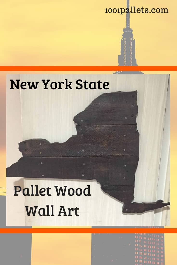 State Pride is easy with pallets: Build a version like this New York State Pallet Art. This project is backlit for a soft glow at night. This project was sized to fit a small apartment, but you could go big too! #diypalletpride #palletstate