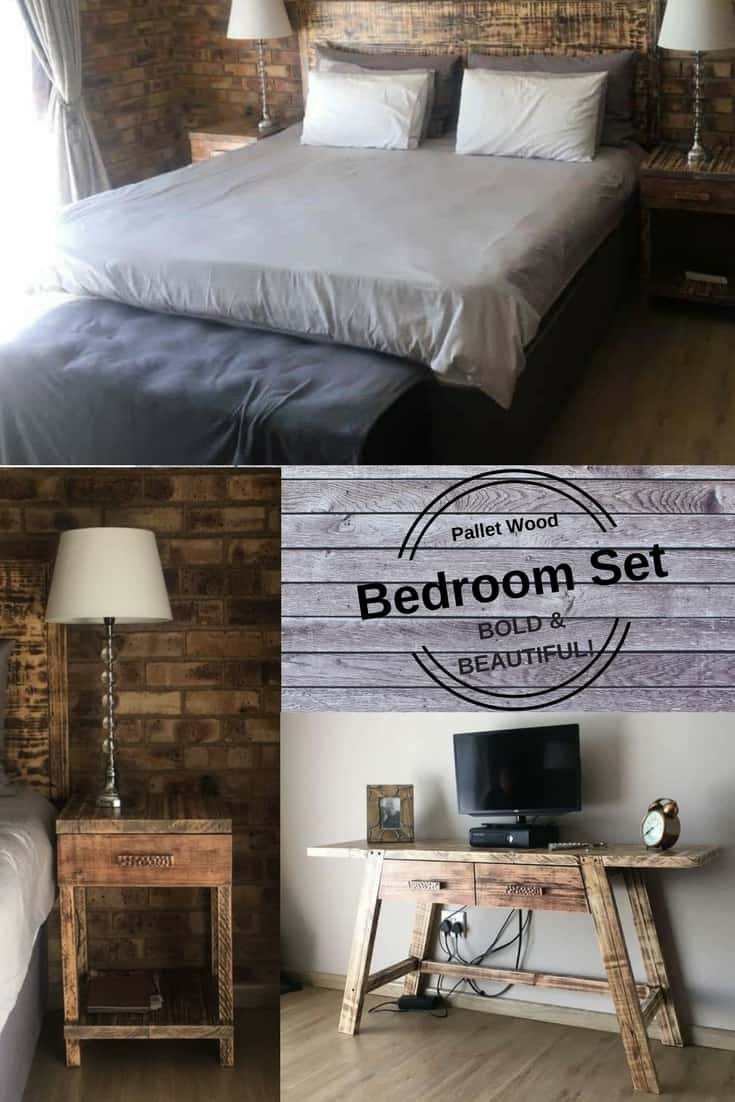 This daring Pallet Bedroom Set features a wall-mounted headboard, matching side tables and a tall TV stand that can double as a vanity, dressing table or desk! The pieces feature matching hardware, and I chose wood with similar rich tones.