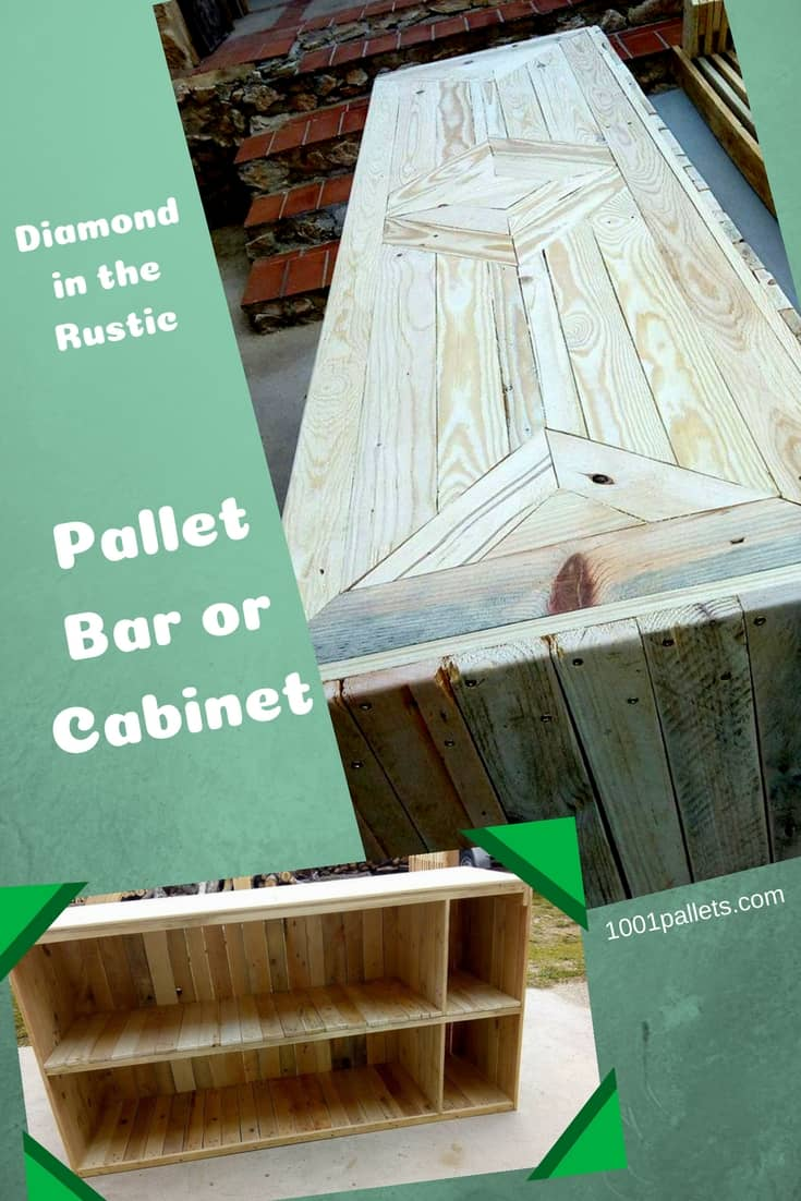 Build a Diamond in the Rustic Pallet Bar or Cabinet today! This flexible design can be a counter, bar, storage area, cabinet or more. This bar has plenty of storage for a well-stocked gathering for family & friends. #diypalletbar #awesome
