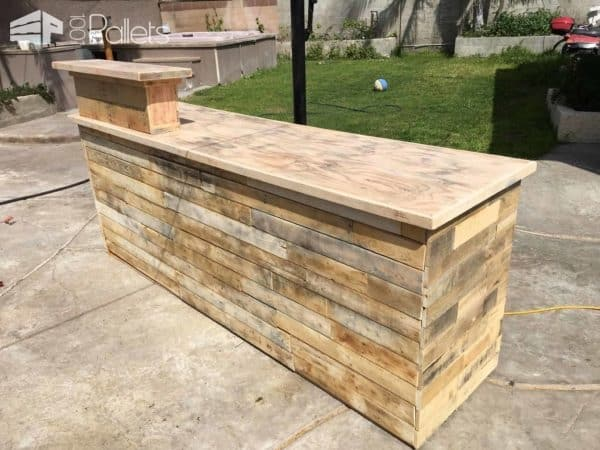 This Pallet Counter is 8 feet long and could double as a bar or cash-wrap station.