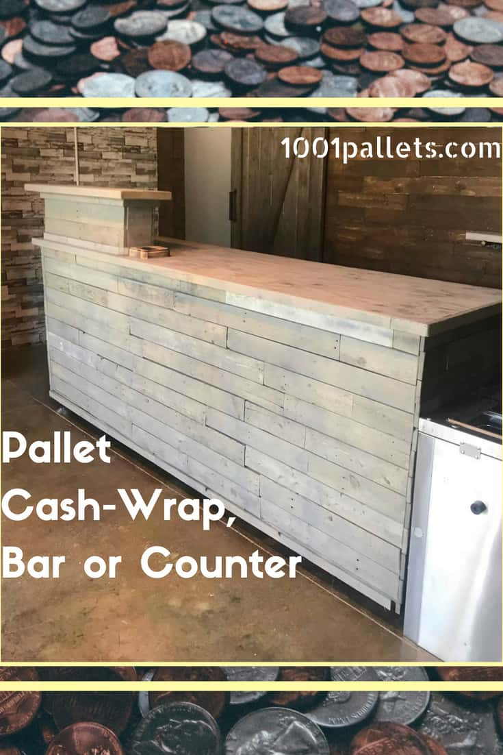 Build a Pallet Cash Wrap or Pallet Counter for your business or use this flexible design in your garage or hobby room as a great workbench too! Flexibility while saving money is the best! #diypalletcounter #diypalletbar #diypalletideas