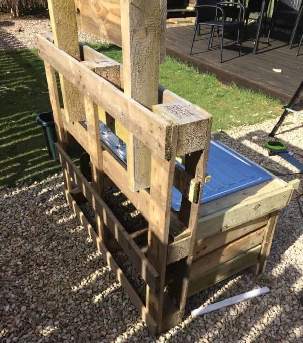 The back view of the Pallet Mud Kitchen.