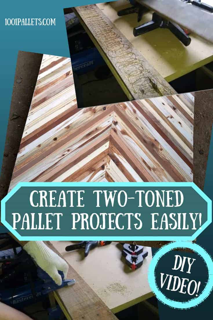 Create Two-Toned Pallet Projects Simply - DIY Video Tutorial! You need wood glue, commonplace woodworking tools, and a couple different pallet wood deck boards! Mix and match wood types, grains, and tones to create stunning projects! #awesomepalletprojects #diyvideotutorial