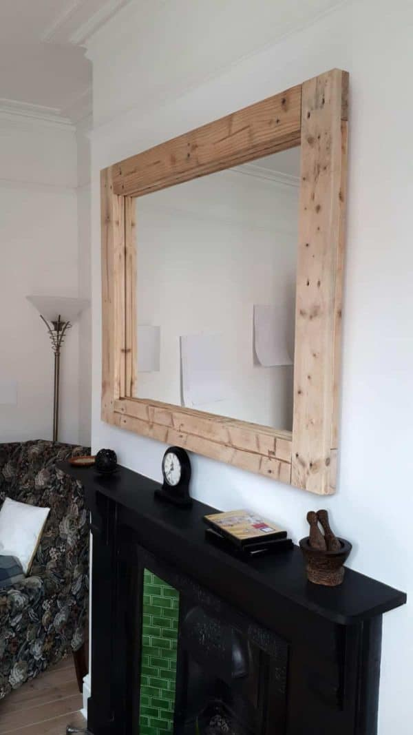 This Large Pallet Mirror Frame needs sturdy wall anchors or to be resting on a sturdy surface.