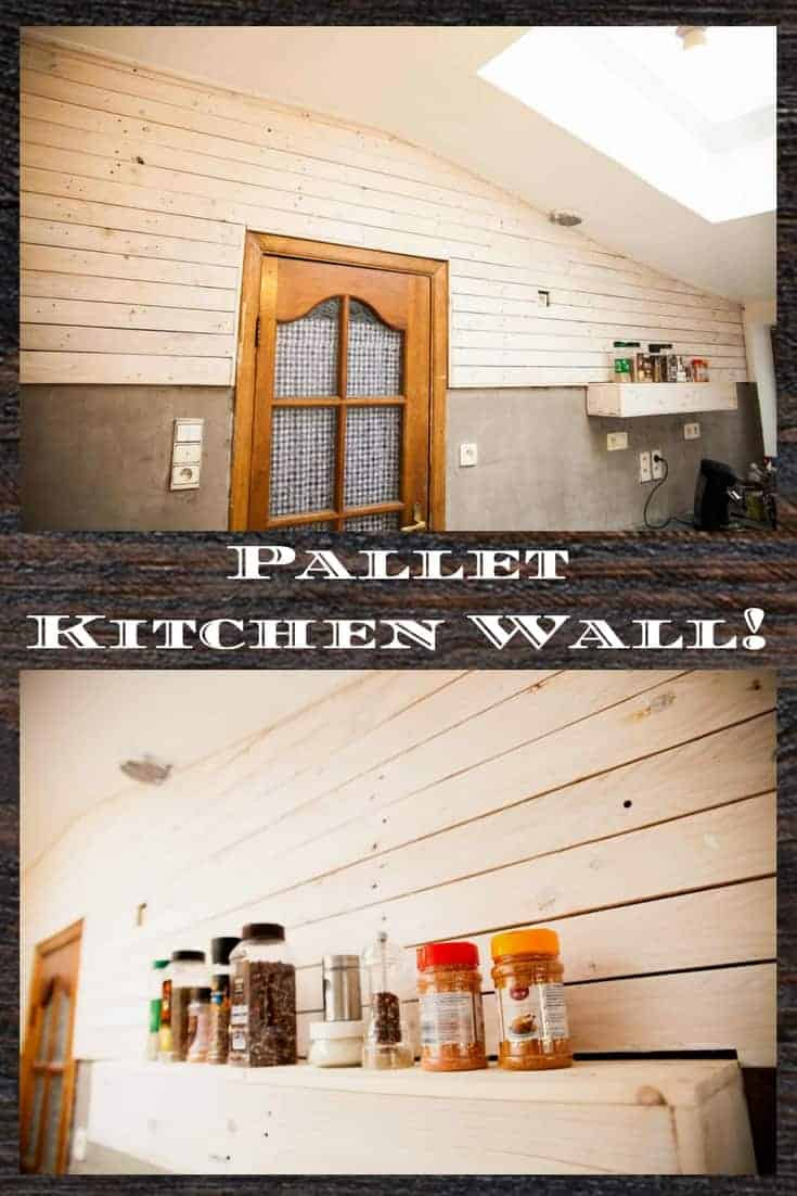 A great Mother's Day project: A Pallet Kitchen Wall for her!  We added light finish to keep the room looking bright and cheery, and mom loves it! It was an amazing family project to do together and for our mother! #palletwall #diypalletideas