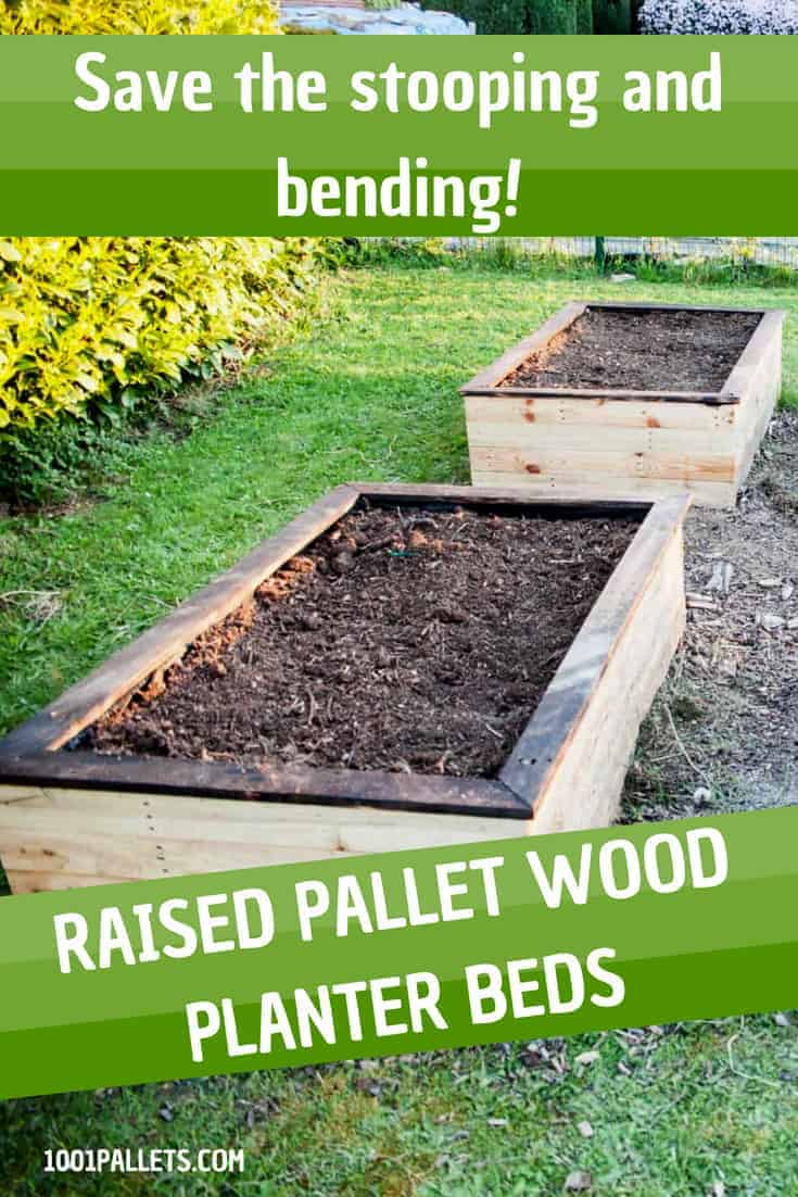 No more back pain when you build Pallet Planter Beds! Sit down on these boxes & do your gardening comfortably. use your yard efficiently, too! If you have poor soil or drainage, this can be a fast and fun solution, too! #diypalletplanter