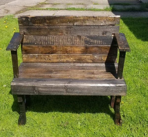 Rustic Pallet Loveseat Bench Is Perfect For Smaller Spaces Pallet Benches, Pallet Chairs & Stools