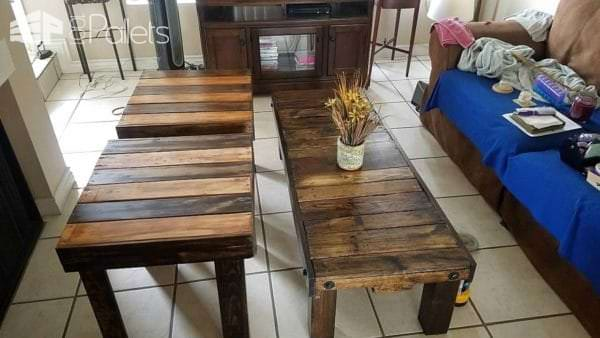 Here are the three tables together. I purposely stained some boards and left others natural for a beautiful-looking contrast!