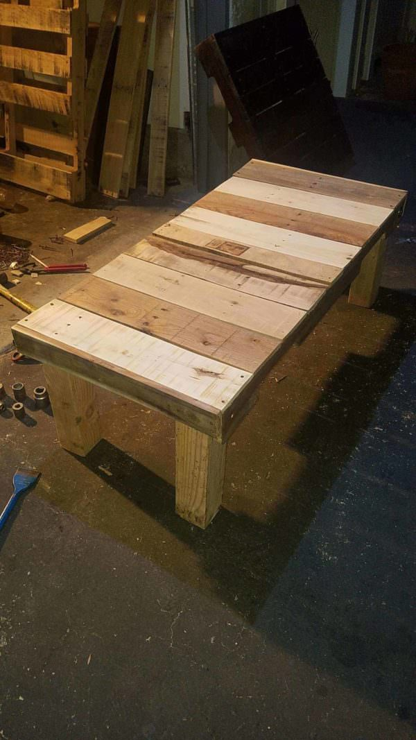 One of the Three Pallet Tables before I stained and finished them.