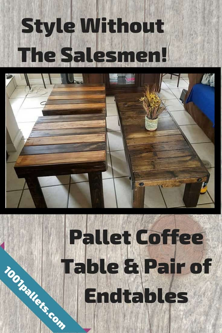 3 pallet tables, 2 hours, 1001pallets,  zero dollars spent! Upgrade your furnishings with custom creations that will give you years of attractive service! You only need 2 to 3 pallets, depending on how large you want them. #pallettables