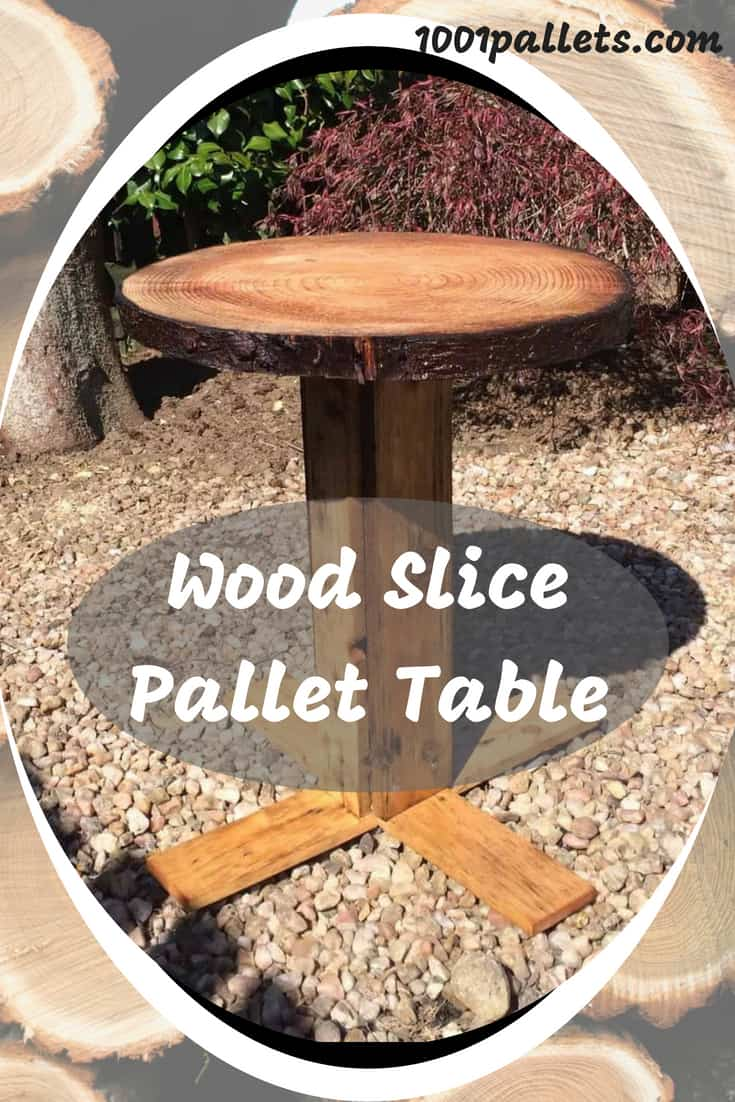 Cut a delicious piece of a Wood Slice Pallet Table! Turn that old stump into a stunning work of art by transforming it into a backyard or indoor table. #diypalletideas #backyardpallettable #partywithpallets
