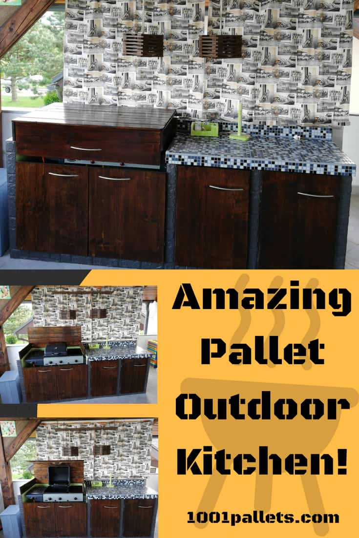 Make jaws drop with a gorgeous outdoor Pallet Summer Kitchen! You\'ll be the host with the most when it\'s time for a party. The grill cover lifts and folds out of the way and the lights are also pallet wood. #palletoutdoorkitchen #palletbbq #palletkitchen #woodworking