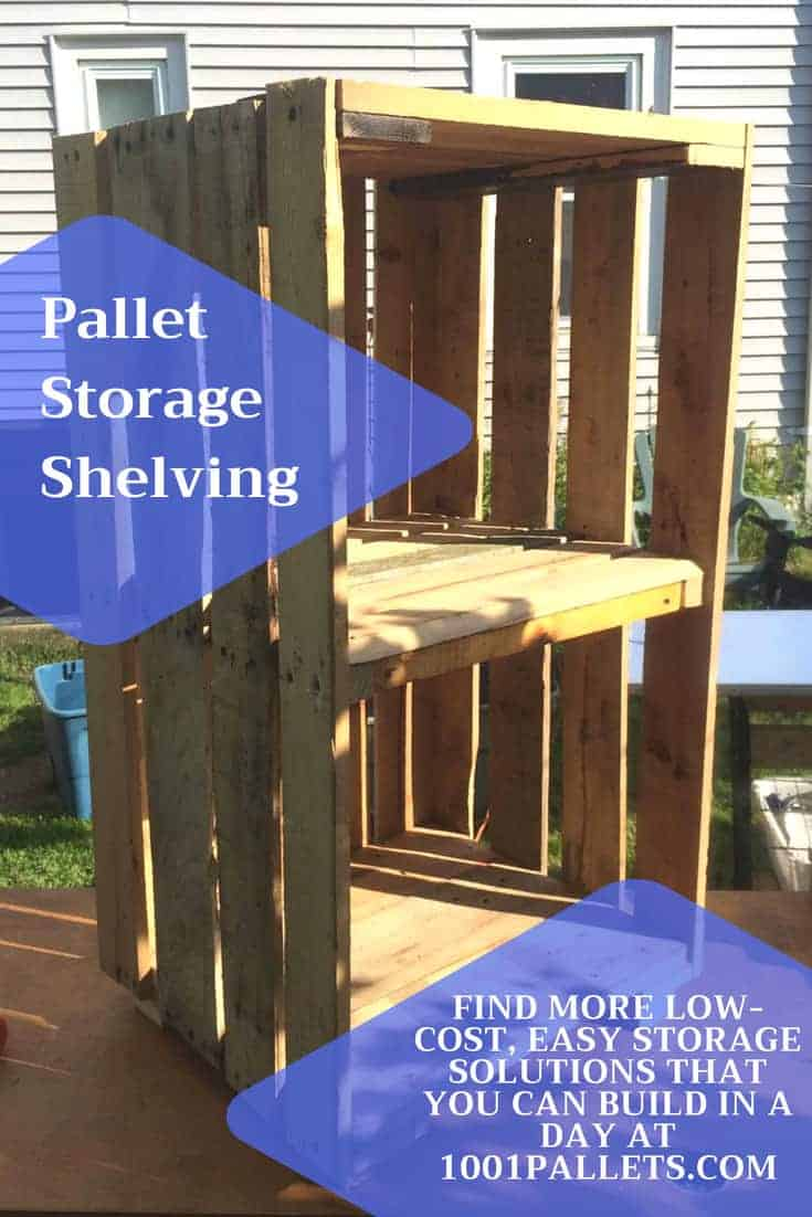 Add storage to your home & save $$ for those other projects! Build a Pallet Storage Shelving Unit in hours. This idea is perfect for hobby rooms and workshops! #palletshelving #palletstoragesolutions #rockthosediyprojects #storage #palletshelf #palletcrates #crates