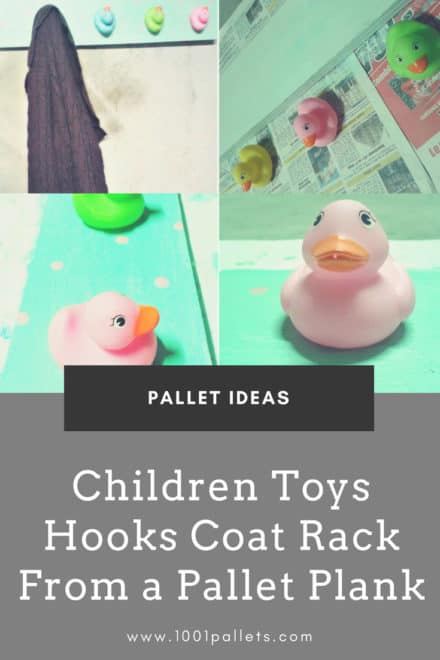 Children Toys Hooks Coat Rack From a Pallet Plank