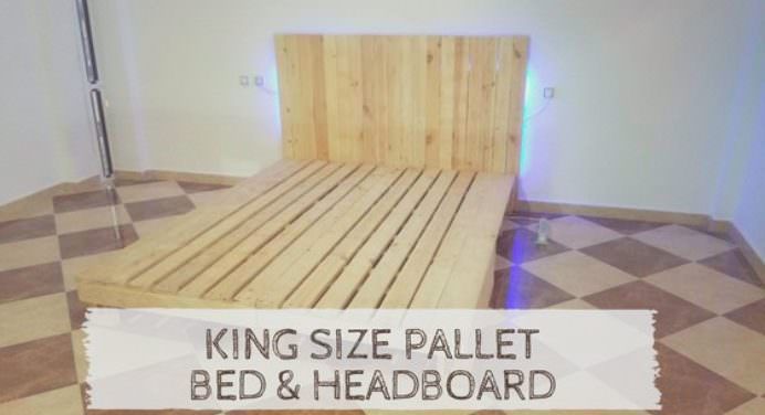 King Size Bed from 2 Long Pallets • 1001 Pallets