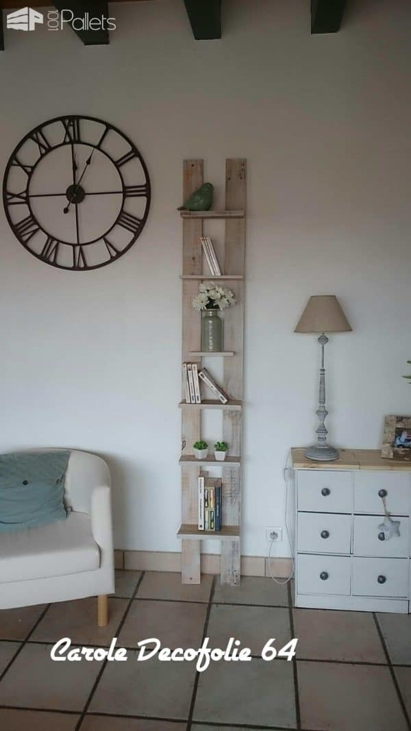 Ladder Shelf from Wood Pallet & Reclaimed Wood Pallet Home Décor Ideas