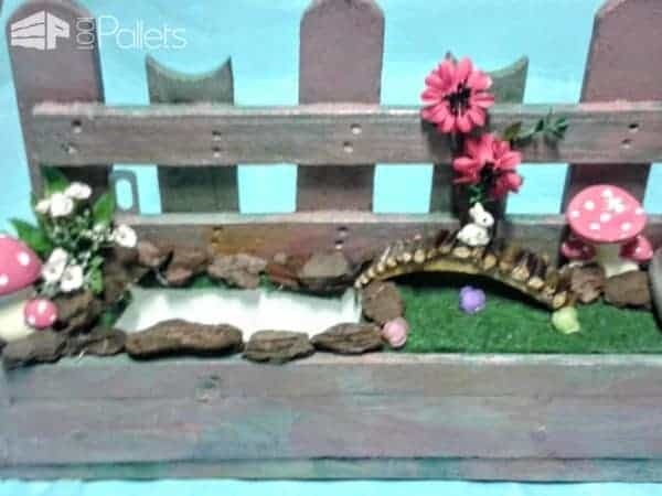 Pallet Fairy Garden with Mushrooms & Candles Pallet Planters & Compost Bins