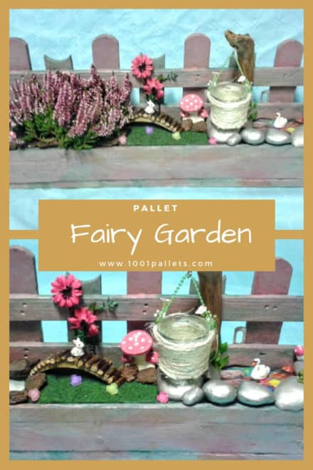 Pallet Fairy Garden with Mushrooms & Candles