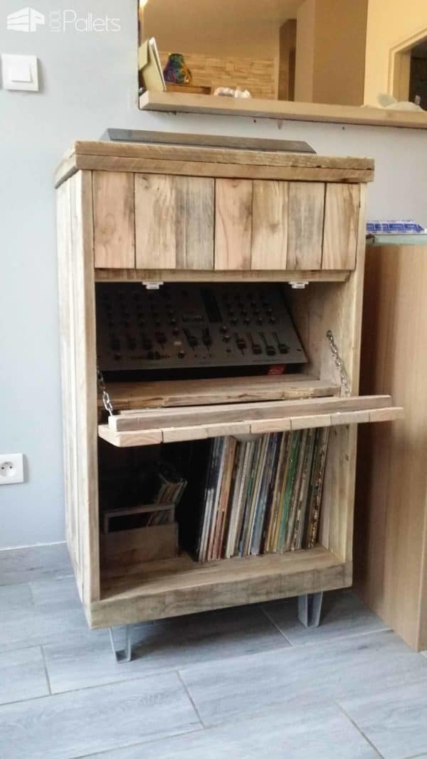 Pallet Turntable Stand & Lp Records Cabinet Pallet Cabinets & Wardrobes
