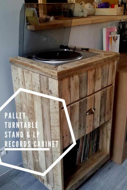 Pallet Turntable Stand & Lp Records Cabinet