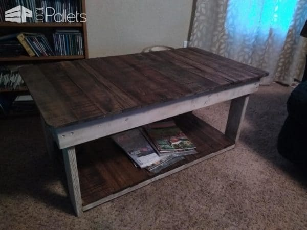 Dark Walnut Coffee Table With White Wipe Stained Frame & Legs Pallet Coffee Tables