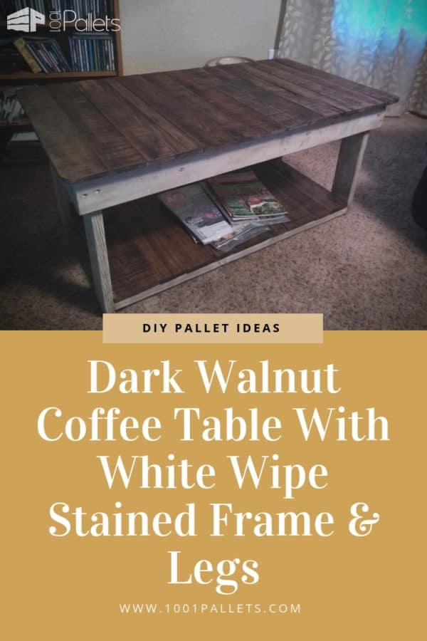 Dark Walnut Coffee Table With White Wipe Stained Frame & Legs