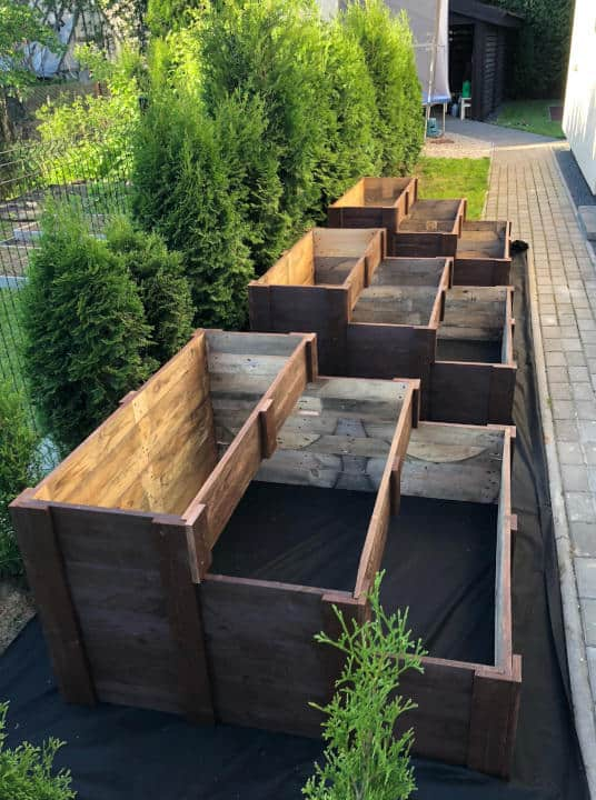 Garden Beds Made from Disassembled Pallet Planks