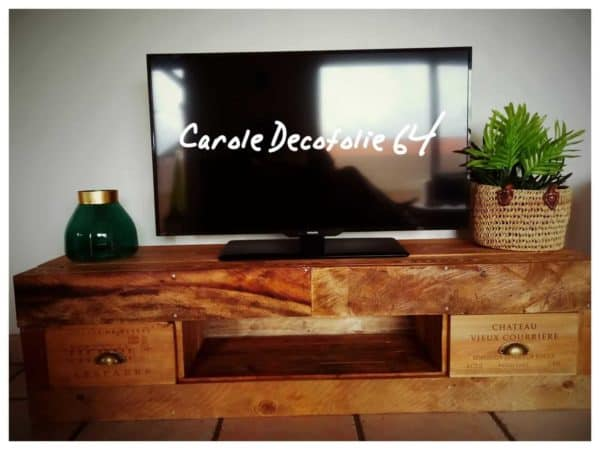 Pallet Tv Stand with Wine Crate Drawers Pallet TV Stands & Racks