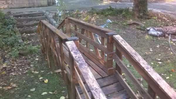 Wood Pallet Bridge over a Pond or Small Stream Pallets in the Garden