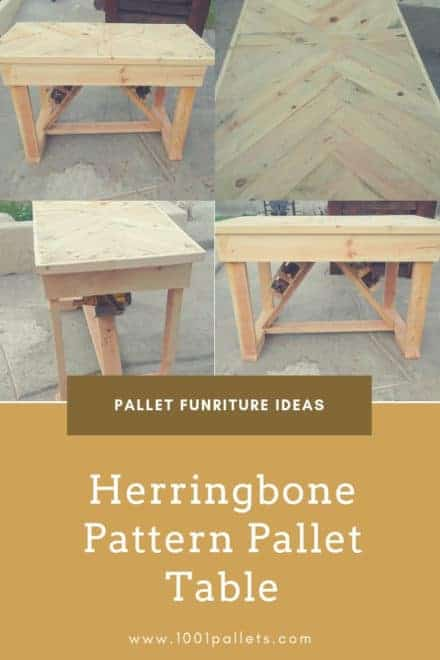Herringbone Pattern Pallet Table