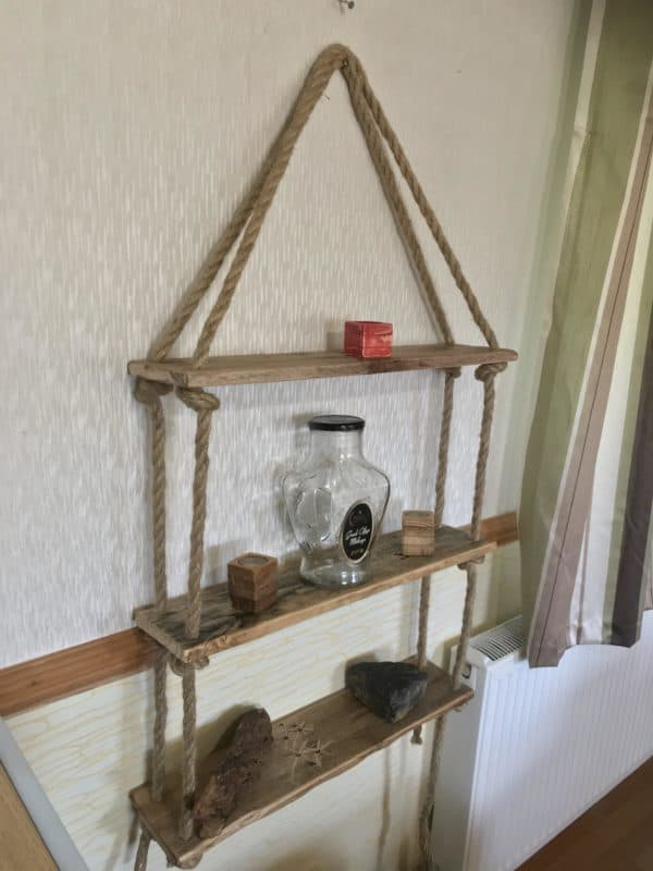 How I Make This Pallet Rope Shelves Pallet Shelves & Pallet Coat Hangers