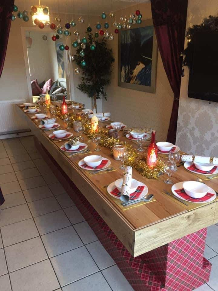 How I Made a Christmas Banquet Table From Pallets