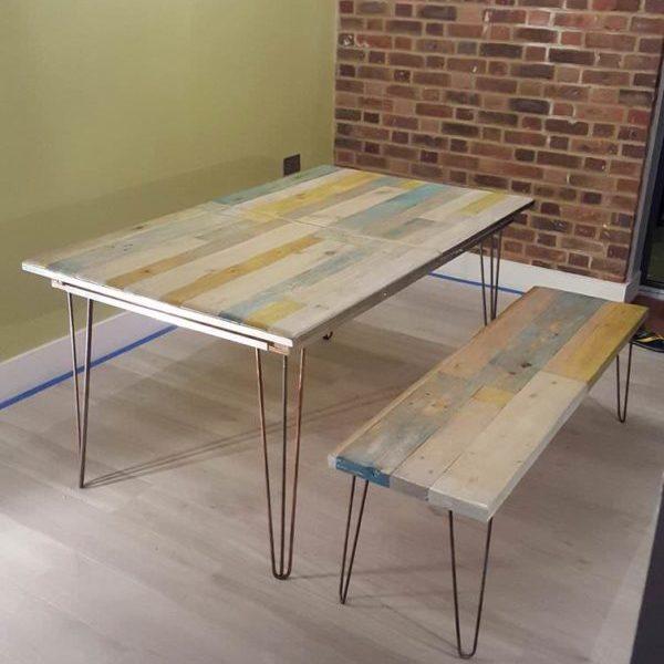1001pallets.com-extendable-pallet-table-with-matching-bench-and-coffee-table