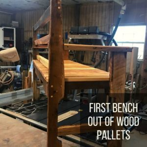 First Bench Out of Wood Pallets