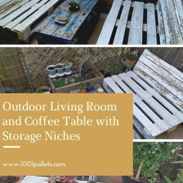 Outdoor Living Room and Coffee Table with Storage Niches