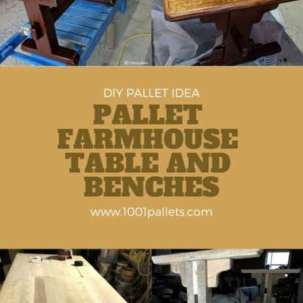 Pallet farmhouse table and benches