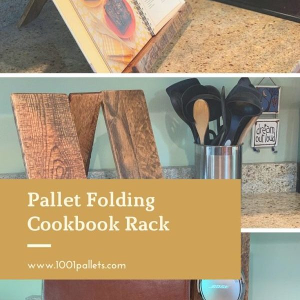 Pallet Folding Cookbook Rack