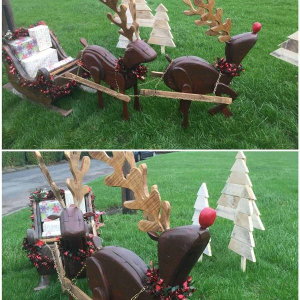 Reindeers and sleigh 1