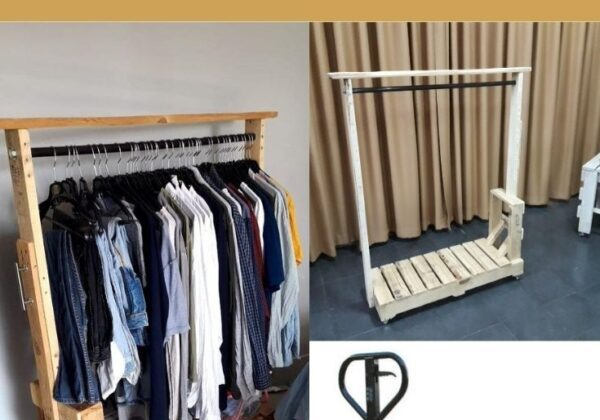 Pallet Truck Inspired Clothes Rack