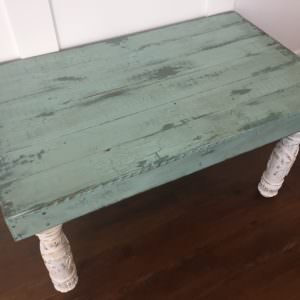 Reclaimed Pallet Side Table Has Upcycled Bed Frame Post Legs