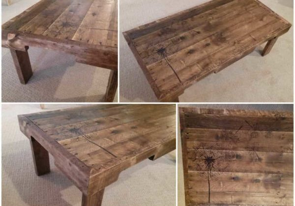 Redeemed Pallet Table with dandelion art 05