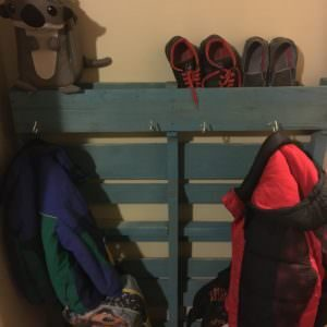 Single-pallet Coat Rack Organizes Our Entryway!